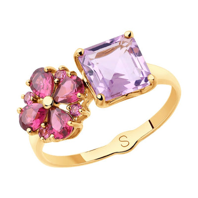 SOKOLOV - Spring Time Red 585 Gold Ring With Amethyst And Rodoliths, Pink And Purple