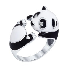 SOKOLOV - Panda Hug Ring - Sterling Silver 925 With Enamel And CZ, Black And White