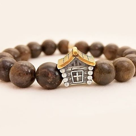 SOKOLOV JUST - Silver Log Cabin Bronzite Bracelet With Enamel, Brown