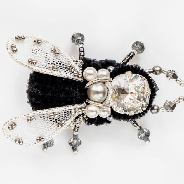 BEETLE.MANIA - Exclusive Handmade Bee Brooch, Black or White