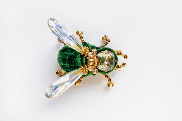 BEETLE.MANIA - Exclusive Handmade Bee Brooch, Green With Gold