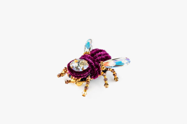 BEETLE.MANIA - Exclusive Handmade Bee Brooch, Purple And Gold