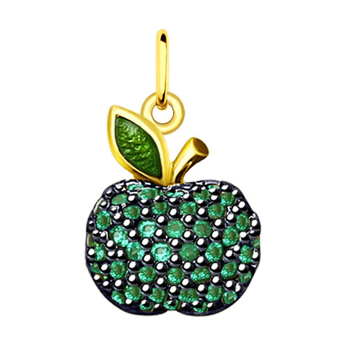 SOKOLOV - Green Apple Yellow Gold Plated Silver Charm - Fall Harvest Collection