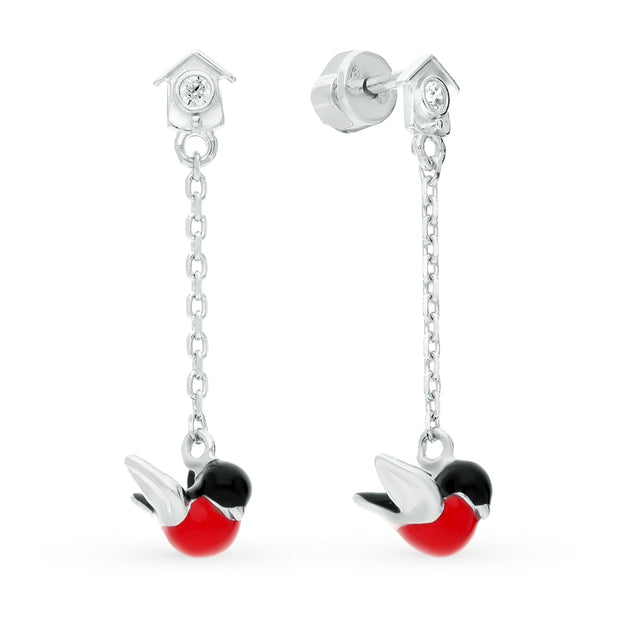 SOKOLOV - Bullfinch Stud Drop Earrings - Silver 925 With Enamel With CZ, Red