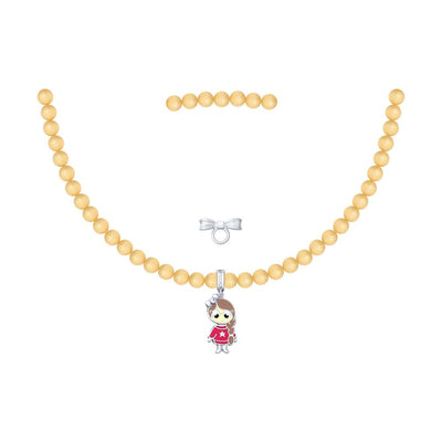 SOKOLOV JUST | MISS - Girls Cat's Eye Necklace With Silver Doll Charm