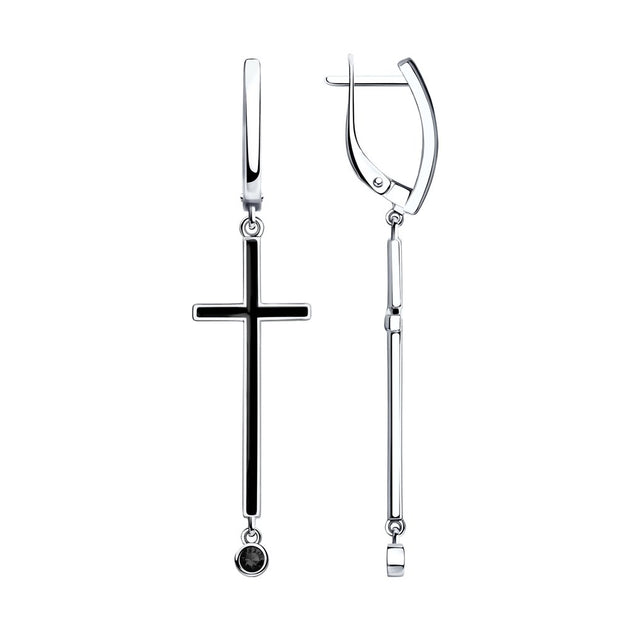 SKLV by SOKOLOV - Cross Earrings With Black Enamel