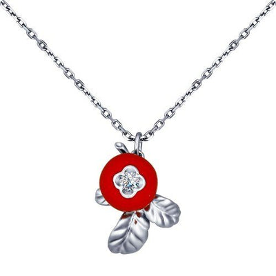 SOKOLOV - Lingonberry Necklace - Silver 925 With Enamel And Fianite, Red