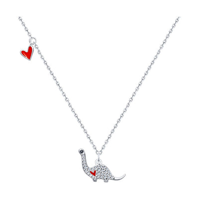 SOKOLOV - Silver Dinosaur And Heart Charms Necklace, Enamel And Phianites