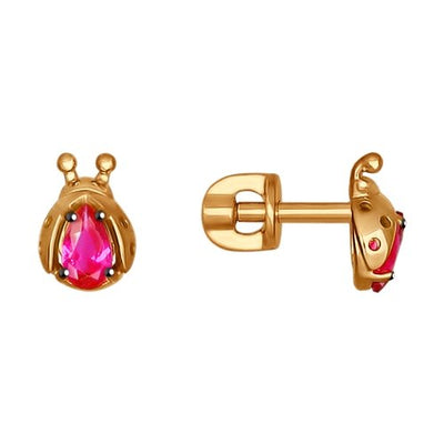 SOKOLOV - Gold Stud Ladybug Earrings With Cubic Zirconia Stones, Pink