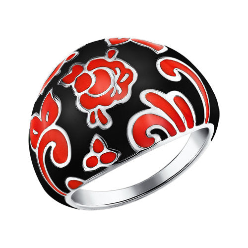 SOKOLOV - Thick Silver Ring With Khokhloma Styled Enamel, Red And Black