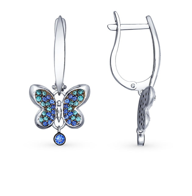SOKOLOV - SILVER 925 BUTTERFLY EARRINGS WITH CUBIC ZIRCONIA, BLUE