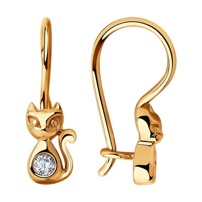 SOKOLOV - Gold Kitten Earrings With Phianite Belly