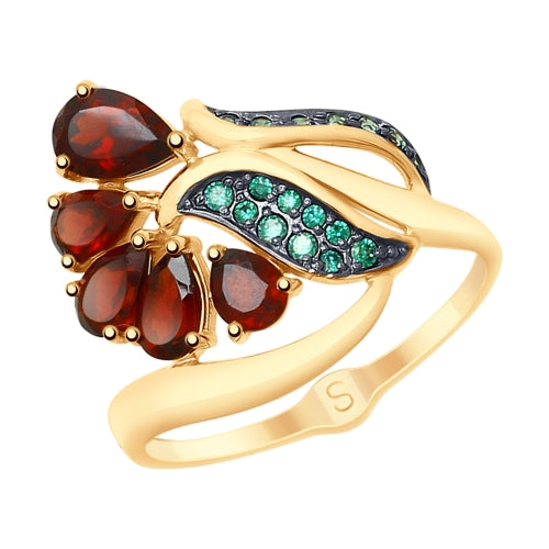 SOKOLOV - Flower Ring, 585 Gold With Red Garnets and Phianites