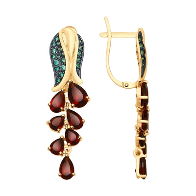 SOKOLOV - 585 Golden Flower Earrings With Red Garnets and Green Phianites