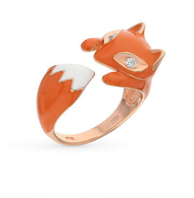 SOKOLOV - Fox Hug Ring - Rose Gold Plated 925 Sterling Silver Wth CZ And Enamel, Orange