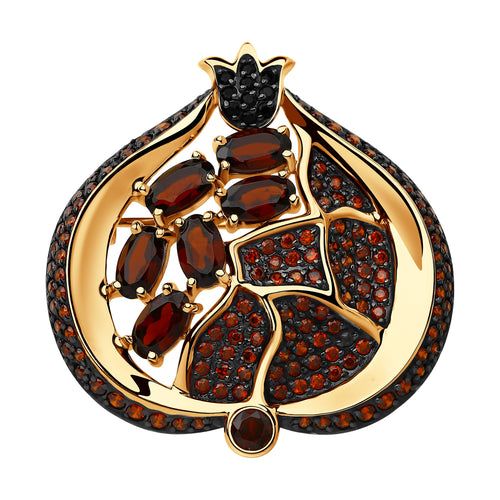 SOKOLOV - Pomegranate 585 Gold Brooch, With Red Garnets and Phianites