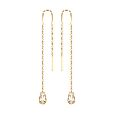 SOKOLOV - Red Gold Drop Thread Matreshka Earrings With Swarovski Zirconia