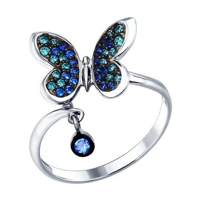 SOKOLOV - Butterfly Ring - Silver With CZ, Blue