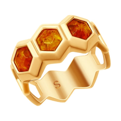 SOKOLOV - Amber Honeycomb Gold Plated Ring, Bees And Honey Collection