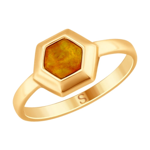 SOKOLOV - Amber Gold Plated Ring, Bees And Honey Collection