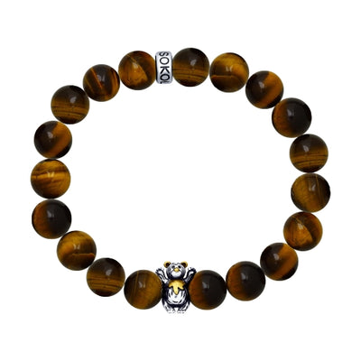 SOKOLOV JUST - RUSSIAN BEAR BRACELET, BLACKENED SILVER AND TIGER'S EYE