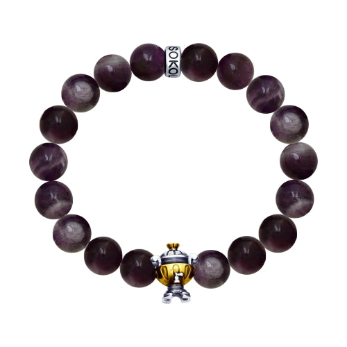 SOKOLOV JUST - Samovar Amethyst Bracelet, 925 Blackened Silver, Purple