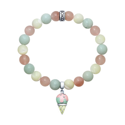 SOKOLOV JUST - Enameled Silver Ice Cream Bracelet With Quartz And Amazonite Stones