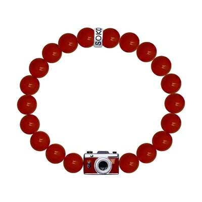 SOKOLOV JUST - Retro Film Photo Camera Agate Bracelet, 925 Silver With Enamel, Red