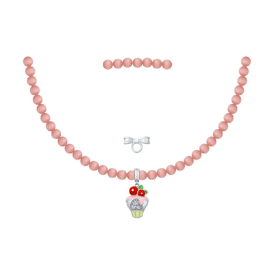 SOKOLOV JUST | MISS - Girls Cat's Eye Necklace With Silver Cupcake Charm