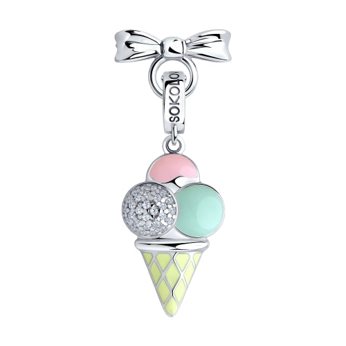 SOKOLOV JUST | MISS - Girls Cat's Eye Necklace With Silver Ice Cream Charm