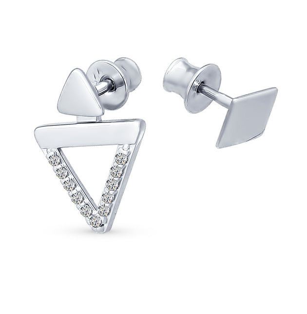 SOKOLOV - Geometric Stud Earrings - Silver And CZ