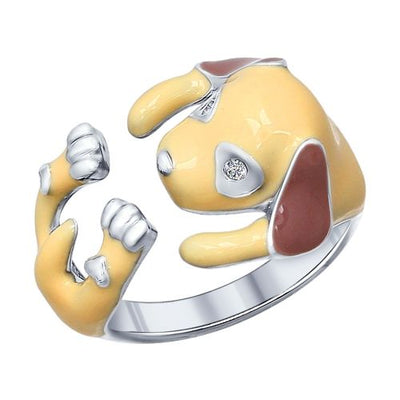 SOKOLOV - Puppy Hug Ring - Sterling Silver 925 With Enamel And Fianite, Beige