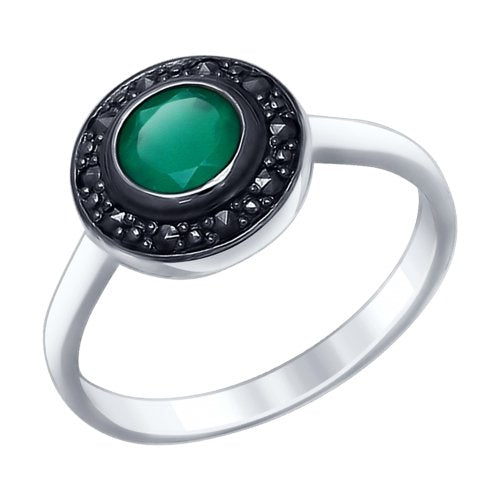 SOKOLOV - Round Ring - Sterling Silver With Agates And Marcasites, Green