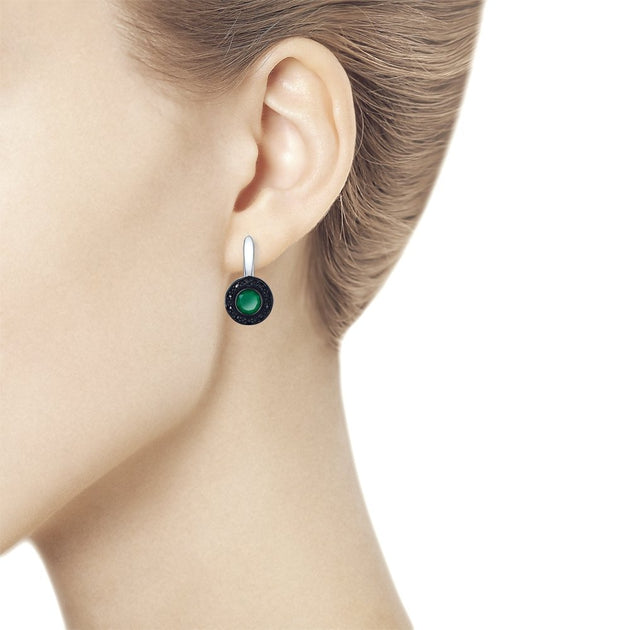 SOKOLOV - Lever Back Earrings - Sterling Silver With Agates And Marcasites, Green
