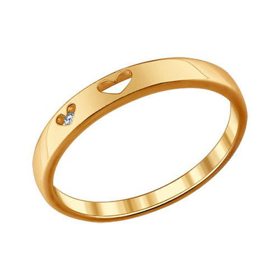 SOKOLOV - Basic 2 Hearts Ring - Gold Plated Silver 925 With CZ