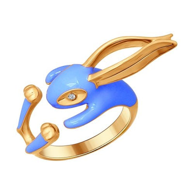 SOKOLOV - Rabbit Hug Ring - Gold Plated Sterling Silver 925 With Enamel And CZ, Blue