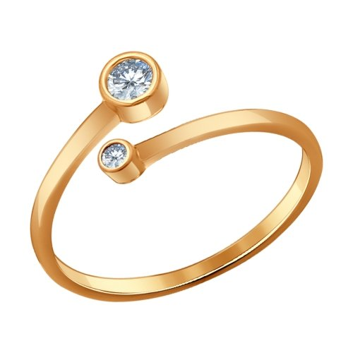 SOKOLOV - Simple Open Ring - Gold Plated Silver 925 With CZ