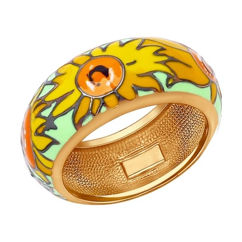 SOKOLOV - Van Gogh Sunflowers Ring, Goldplated Sterling Silver With Enamel