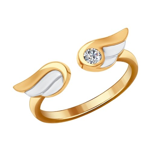 SOKOLOV - Wings Gold-plated Ring With Phianite
