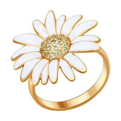 SOKOLOV - White Daisy Silver Gold Plated Ring With Enamel And CZ