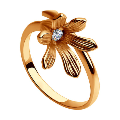 SOKOLOV - Flower Ring - Gold Plated Silver 925 With CZ