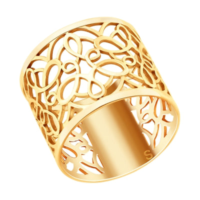 SOKOLOV - Gold Plated Wide Lace Ring
