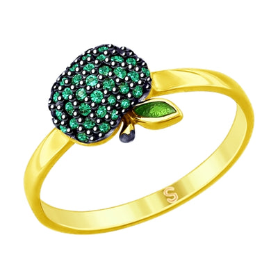 SOKOLOV - Green Apple Gold Plated Silver Ring - Fall Harvest Collection