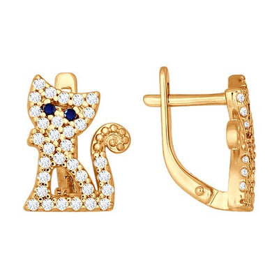 SOKOLOV - Happy Cats Earrings - Gold Plated Silver 925 With CZ