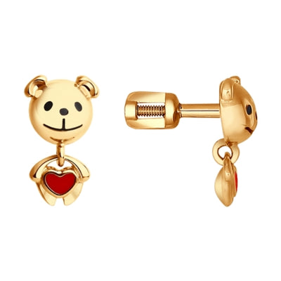 SOKOLOV - Kids Cute Bear Earrings - Gold Plated Silver 925 With Enamel
