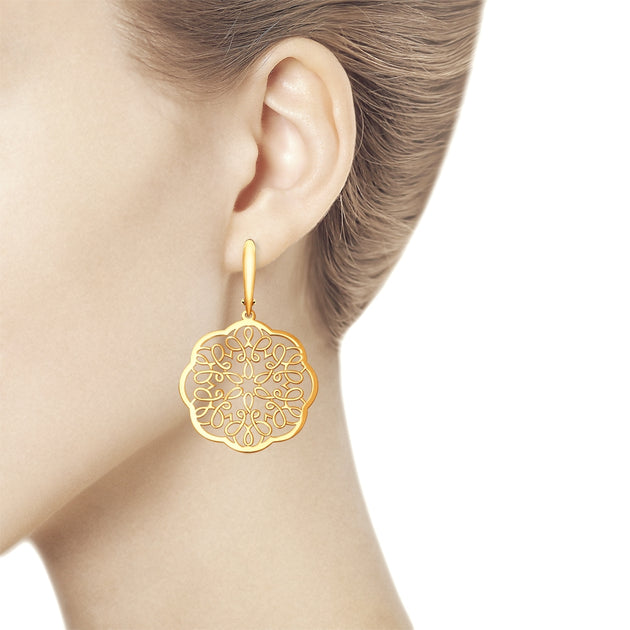 SOKOLOV - Gold Plated Silver Lace Earrings