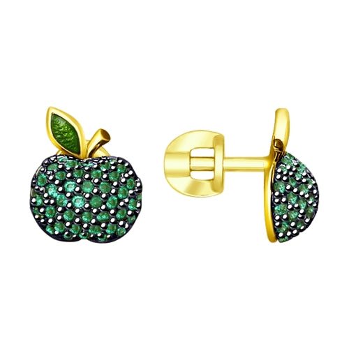 SOKOLOV - Green Apple Gold Plated Earrings - Fall Harvest Collection