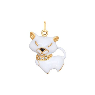 SOKOLOV - White Cat Pendant - Gold Plated Silver 925 With Cubiz Zirconia And Enamel, White