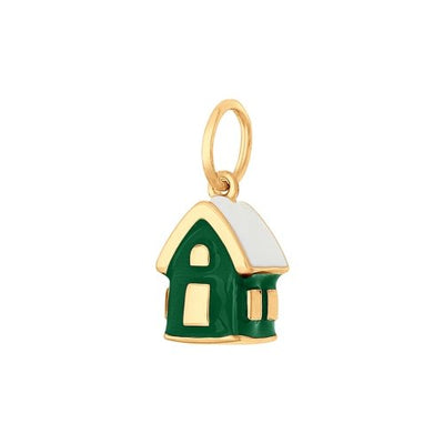 SOKOLOV - 925 Gold Plated Winter Forest House Charm, Green Enamel