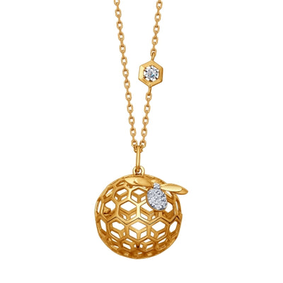SOKOLOV - Honeycomb Gold Plated Sphere On A Chain, Bees And Honey Collection